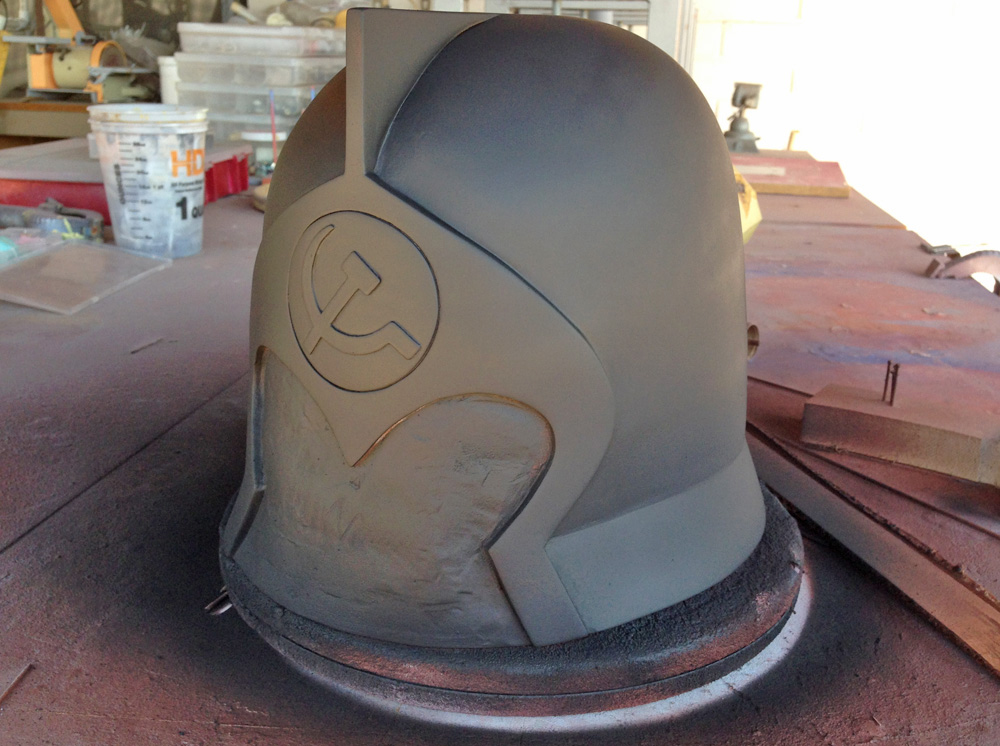 The helmet and emblem was painted with a final coat of primer.