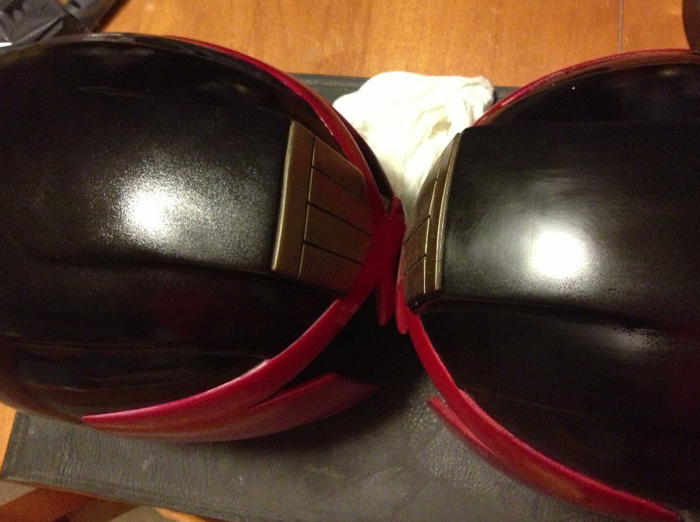 The black was sanded until smooth. You can see the results in the helmet on the right.