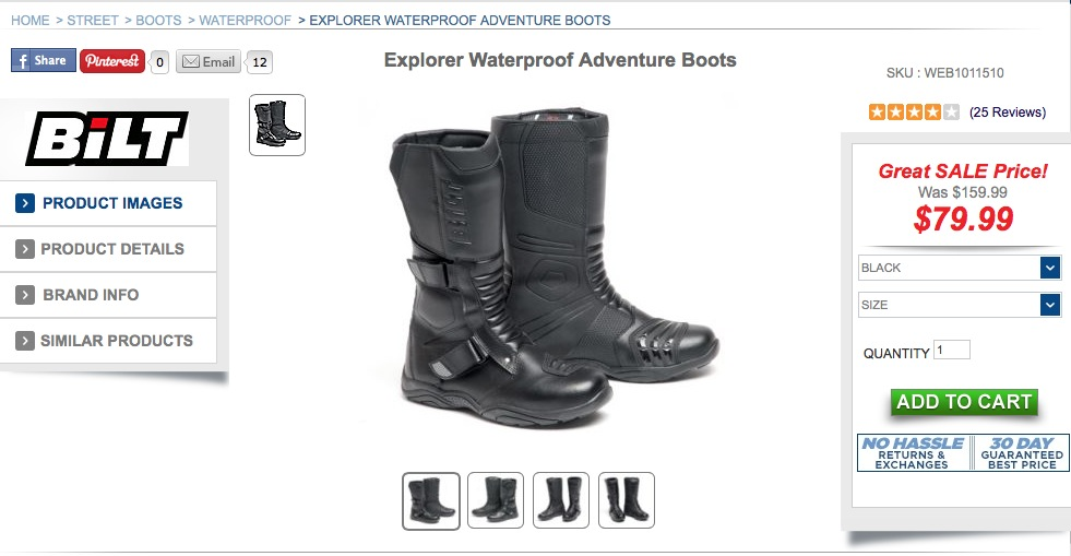 "Until I was able to get film accurate replica boots, I bought a pair of Bilt Explorers that were on sale at Cyclegear. They're a comfortable but cheap motorcycle boot that passes the ""close enough"" test."