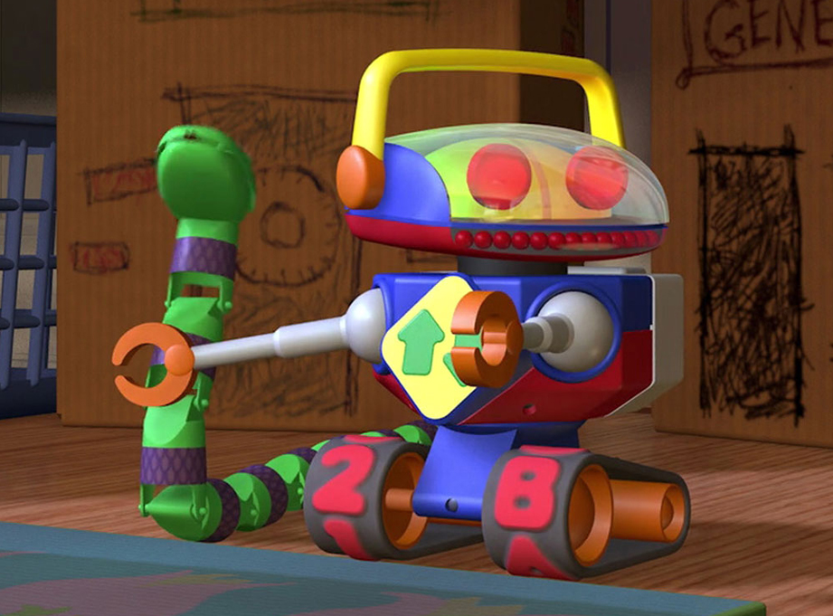 After building Mr. Spell, I was commissioned by the same group of rabid Toy Story fans to build Andy's Robot, shown here hanging out with his friend Snake.
