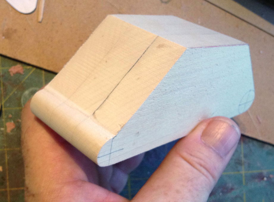 I replicated the shape twice more and glued the pieces together to make the proper width.