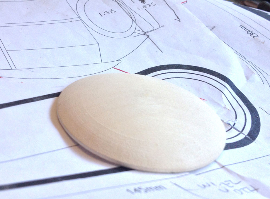I sanded down MDF to make the domed piece that connects the hips to the torso.
