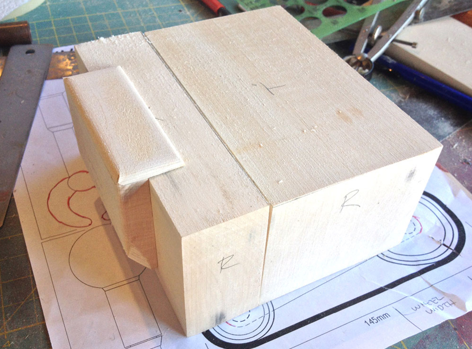 The torso would be molded in two parts so I cut two blocks of basswood.