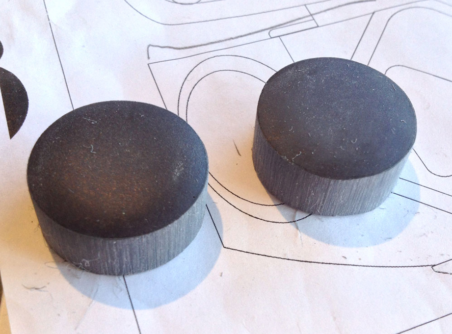 Mr. Spell's ear pucks are slightly bigger than what I needed for the Robot so I cut down resin castings to the right size.