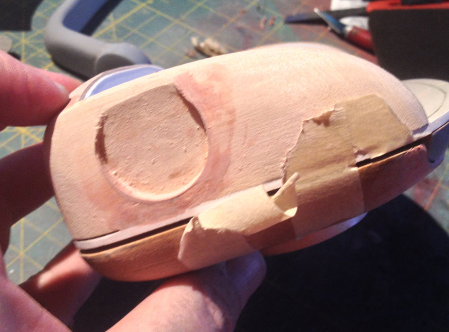 I cut holes for the ear pucks in the side of the head.
