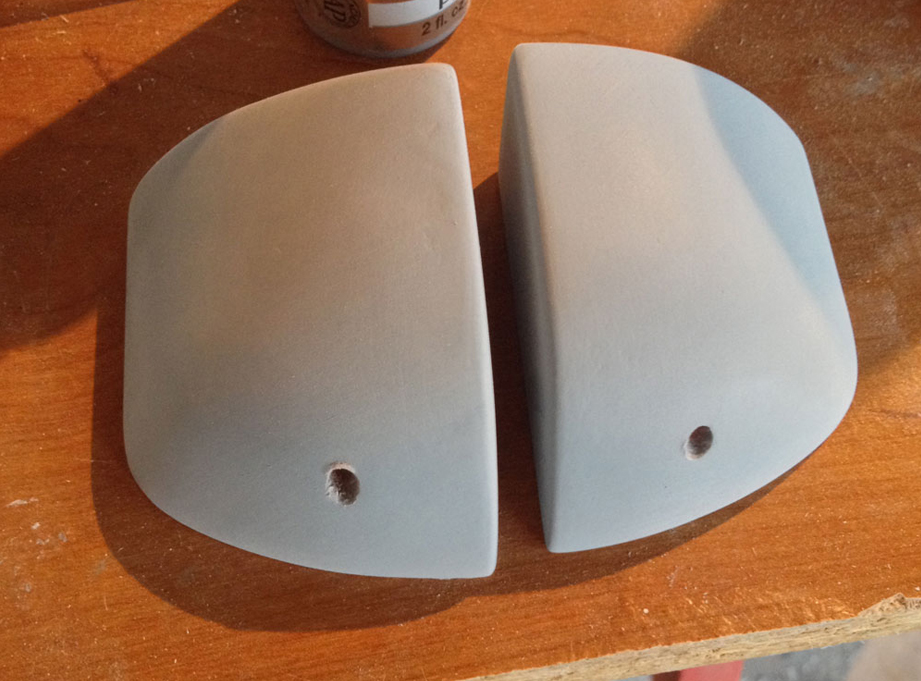 I sanded MDF blocks to make vacuum forming masters for the brains. The hole will hold the stalk of the eye.