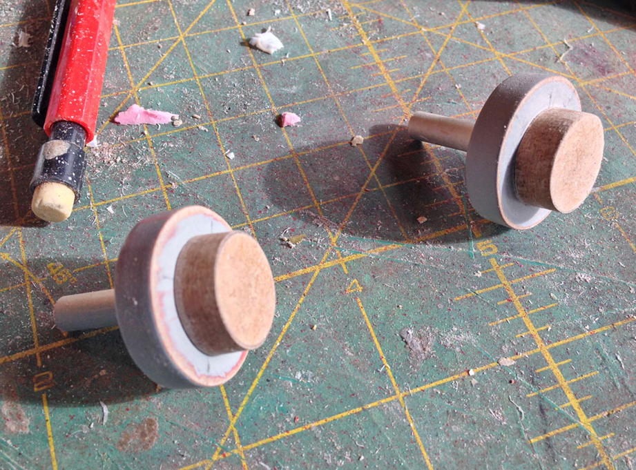 The eyes were made with MDF disks glued to wooden dowels.