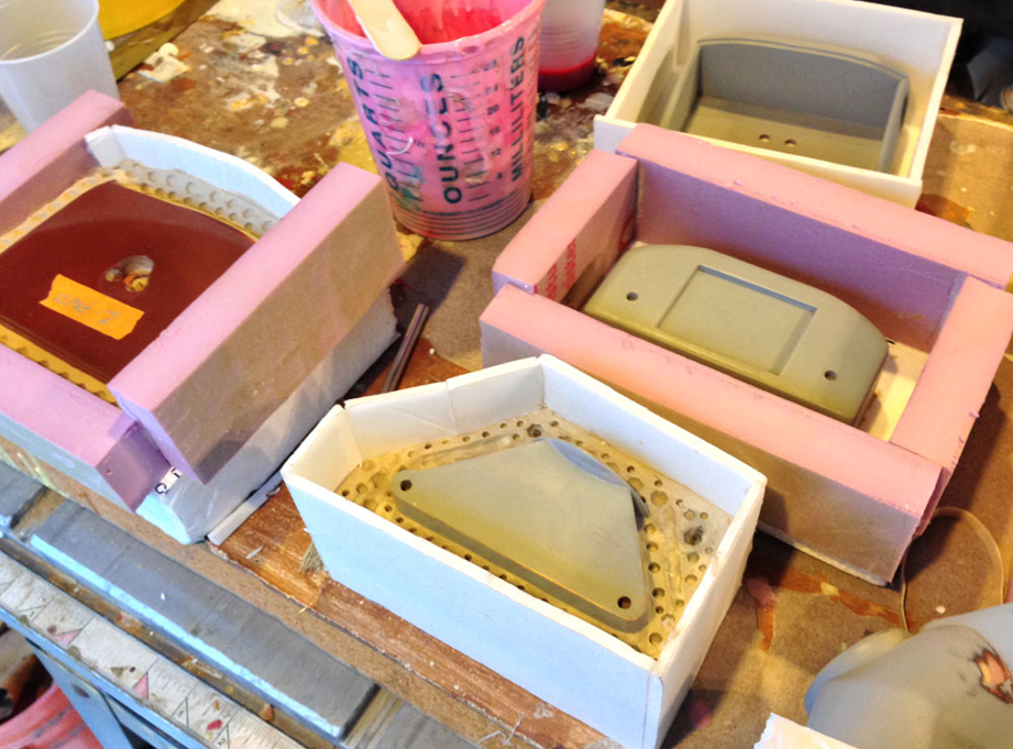 I made silicone molds of all the parts. It took a gallon of Smooth-On MoldMax 30 to mold all the parts.