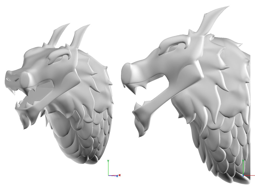 Working from my blueprints, I slowly worked the detail into the dragon. Fortunately, Strata allows you to work on half of an object and it mirrors the geometry for a perfectly symmetrical sculpt.