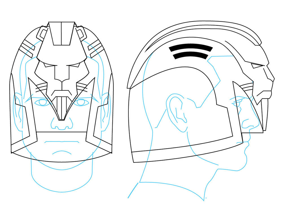 For this design, I tried to retain as much of the comic's style as I could. The original has the taller dome (which I'm sure is a nod to an English Bobby's helmet) which I incorporated into the Dredd movie style helmet. Obviously, I needed to include the giant lion's head as well.