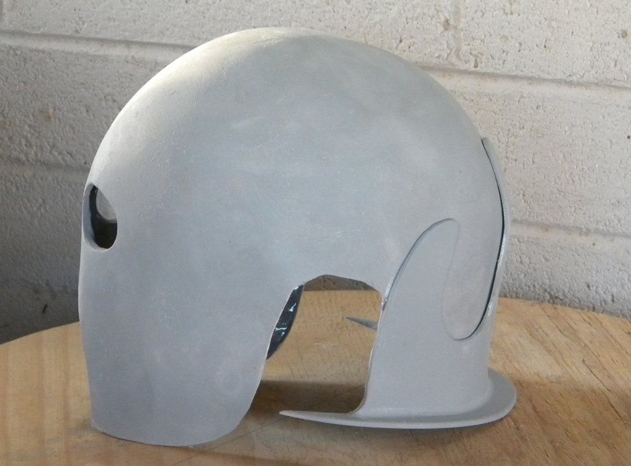 A coat of filler primer and a bit more sanding completed the main helmet.