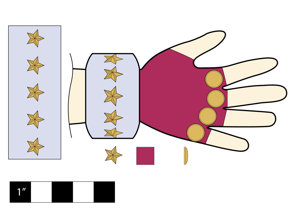 Planning was critical so it took some heavy figgerin' to correctly size and space the stars around the cuff cylinder.