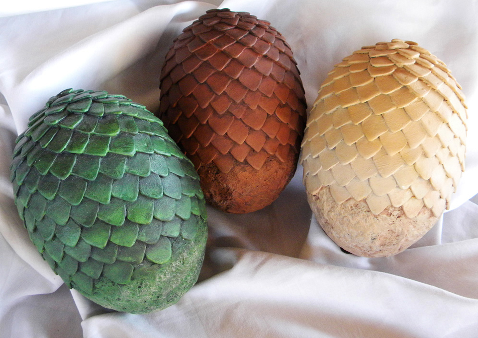 The final painted eggs. Each egg was sprayed with a base color coat, a dark wash applied to bring out the recessed details and some dry brushed lighter shades on the raised surfaces.