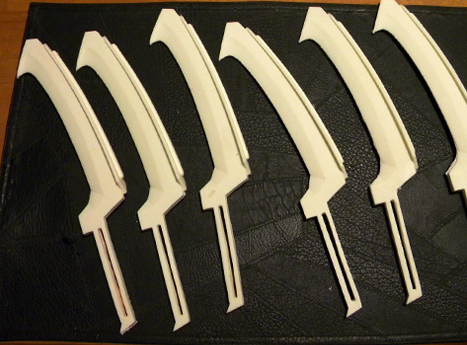 I cast resin copies of the blade master to be used in the final props.