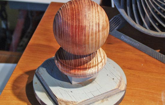For the mouthpiece of the pipe, I was able to find a wooden finial the right size and checked it to my lathe for modification.
