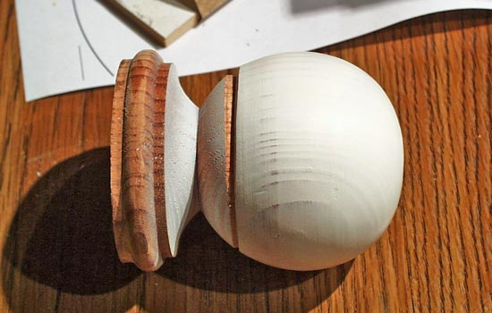 The finial's ball was flattened slightly and I scribed a line for separating the ball portion.