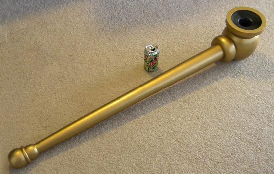 The final painted pipe. I used a brush to apply the paint so the paint has a brushed metal appearance.