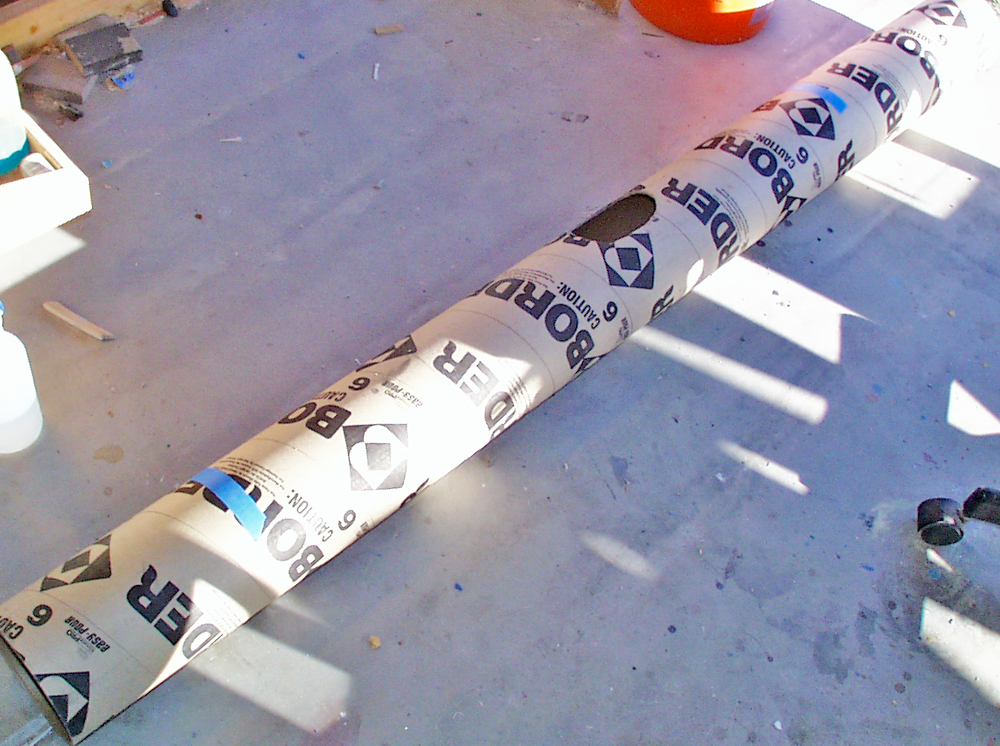 I started with a 6″ concrete casting cardboard tube. The client requested a 7′ length for the bankai instead of the 12′ length in the anime.