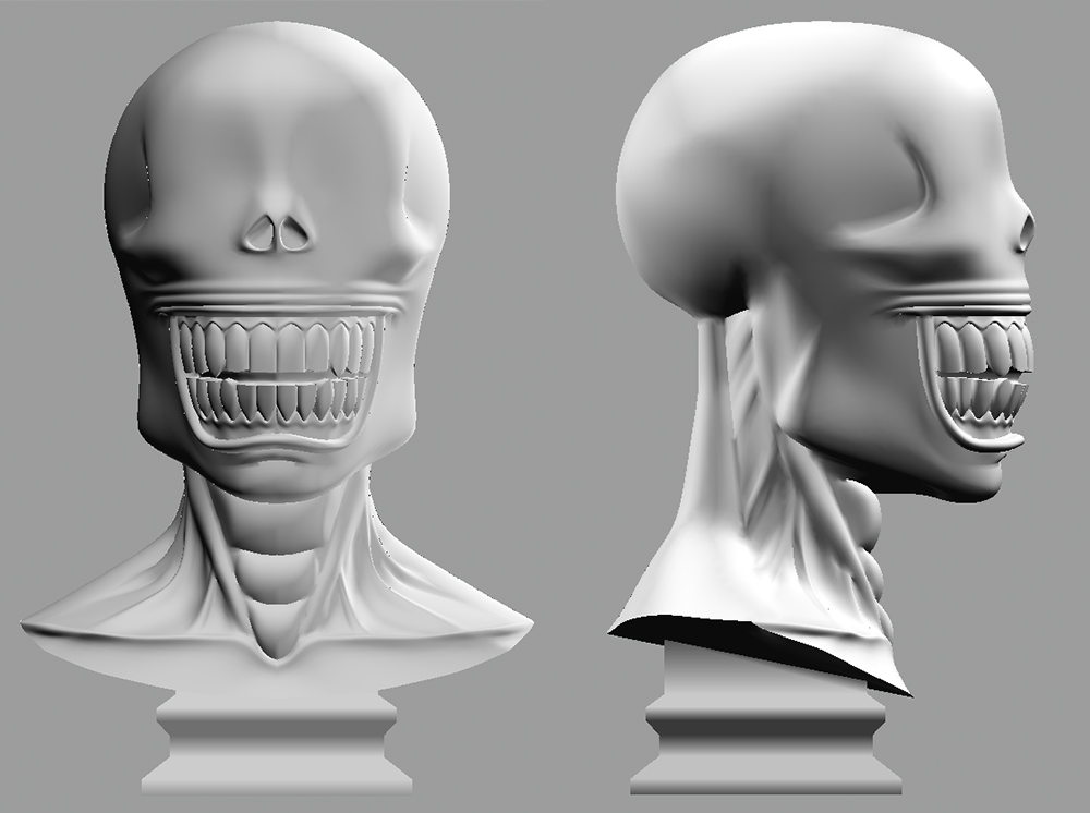 About a year later, I pulled my plans into 3D and sculpted the bust of JD. It was heavily based on Brian Bolland's artwork and I took reference from mummies and desiccated corpses. I was inspired by Giger's Xenomorph design in that it had no eyes. That's just plain creepy.