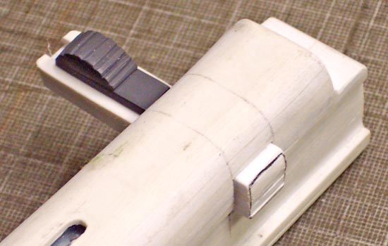 After I marked the positions of the bolt in the receiver, I drilled, filed and cut the hole for the handle.