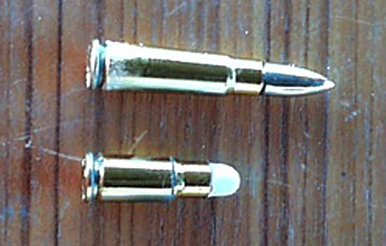 I dummied up a bullet from another kit with the same caliber. I cut down the AK 7.62 x 39 to become the 7.62 x 25.