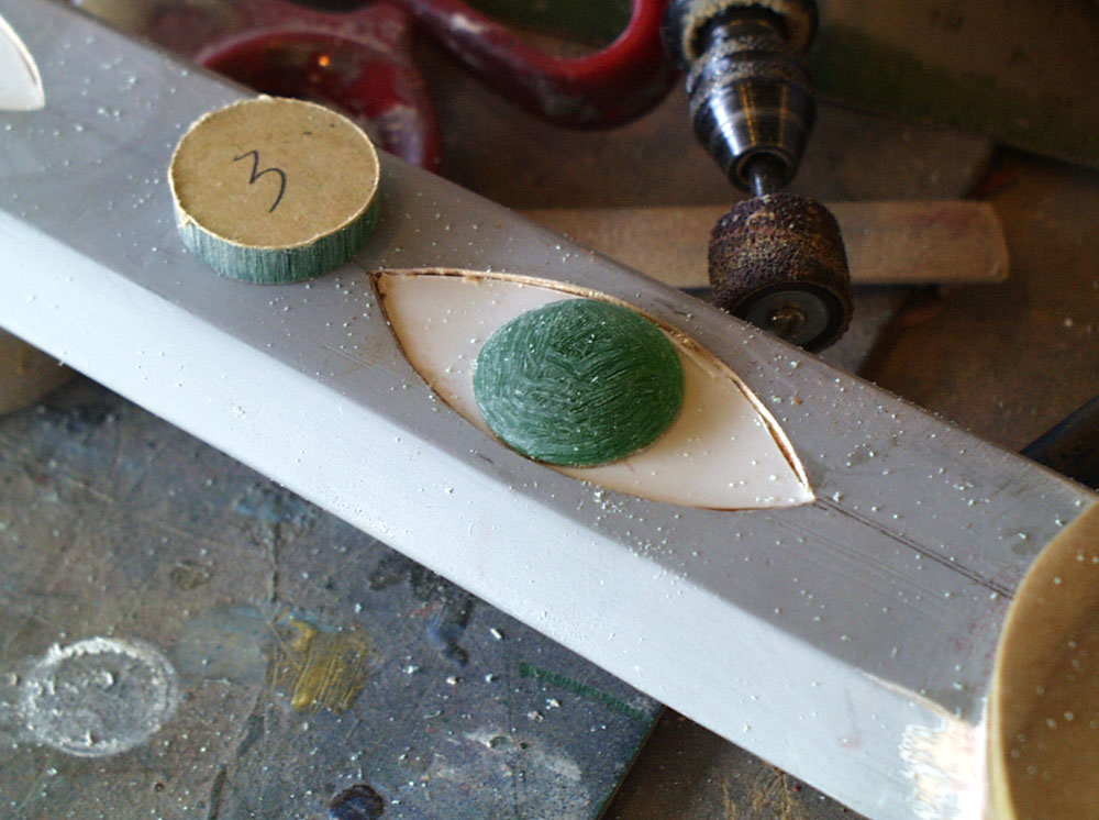 I made the blade gems using 1/4″ acrylic, shaping it with a Dremel sanding drum.