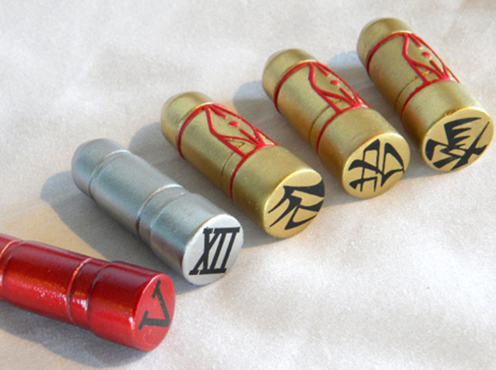 The final painted shells. Pictured (L-R) #5, #12, #4, #9, #13