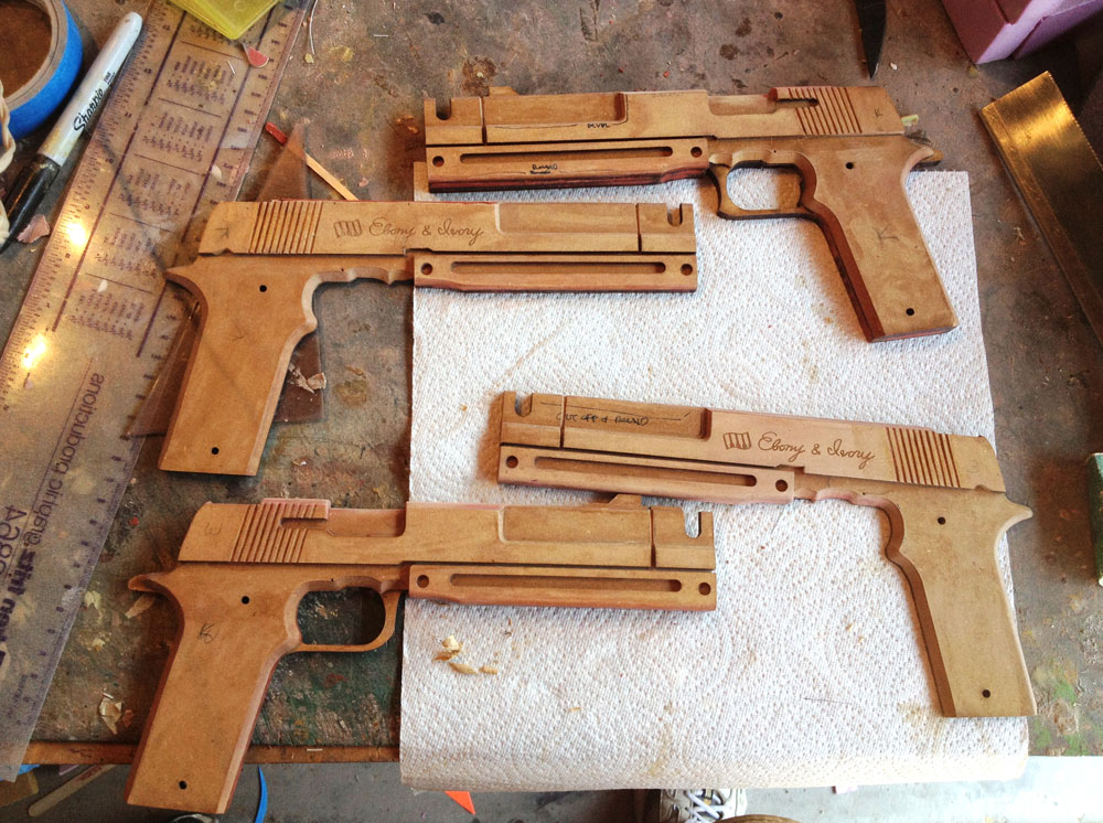With the body halves assembled and modified, I could seal them with shellac.