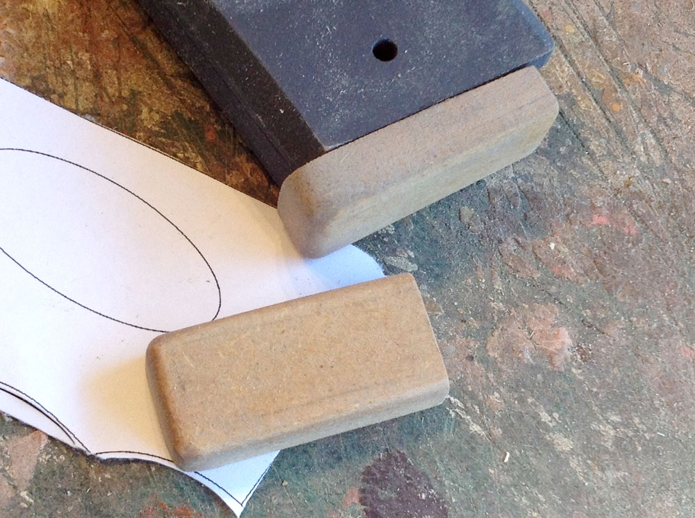 """The """"slam pads"""" on the base of the magazines were made from 1/2″ MDF."""