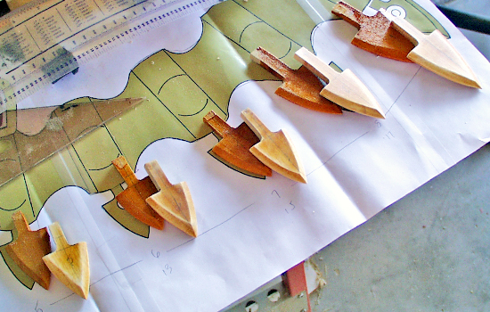 The points were cut from 1/4″ poplar and then edged on the sander.