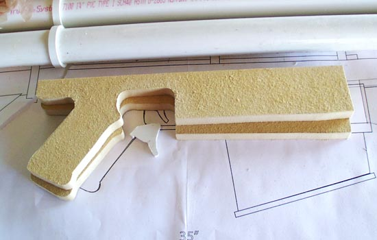 "The pistol grip was cut from 1/2"" MDF."