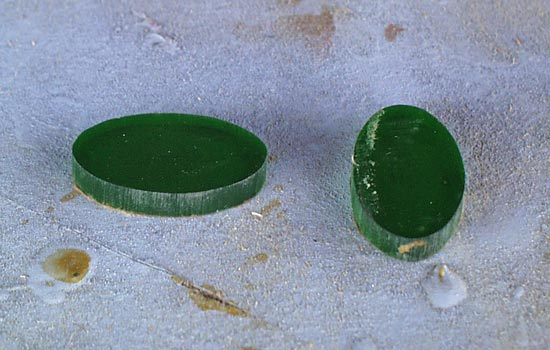 For the pommel gems, I cut the shapes from 1/4″ green acrylic.