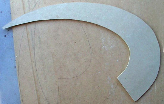 I cut out the blade shape out of 1/4″ MDF.