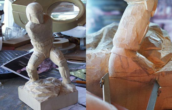 Starting to define leg details like pouches and knees. STILL working on the base! The base is pretty much done and I'm happy with the basic proportions. Now to add details without getting TOO detailed. My first mistake. I cut off too much of the right toe so I decided to angle the foot down on a slope of the base.