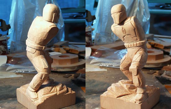 All details filled in and sanded. You can see the new foot position here. I think it actually makes the figure a bit more dynamic.