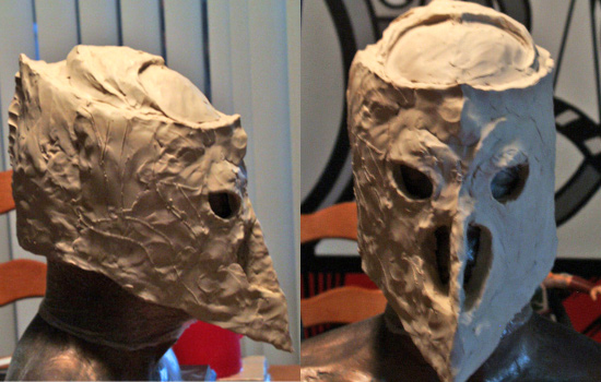 I lightly scribed the side details and started to rough in the the top of the helmet.