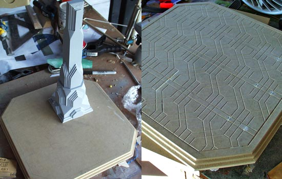The base was cut from 3/4″ MDF with steps carved with a router. The tile design was transferred to the board by placing the laser print face down, brushing lacquer thinner on the paper and then rubbing the back of the paper. The thinner softens the toner allowing it to transfer to the board. I used a carving bit in the Dremel to carve the tile seams.