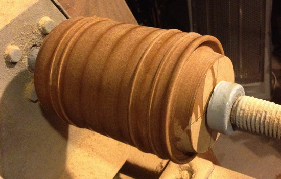 The end band was too big for basswood so I glued a bunch of MDF together and shaped it on the lathe.