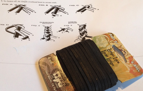To make the strap I bought some black leather Latigo lace.