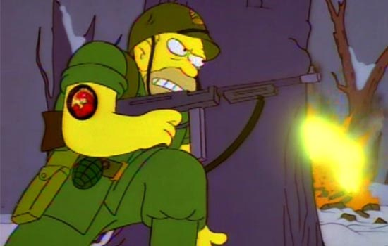 The episode features a great flashback showing a young Abe Simpson fighting the Germans in the closing days of WWII.