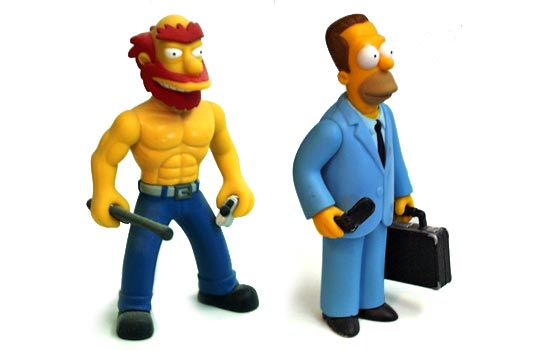 "I bought a used ""Raging Willie"" as he is one of the few Simpsons characters in shape and had a cool action pose. I made a rough mold of Homer's brother Herb's head and cast a new head. I also referenced the Ranier Wolfcastle as McBain for the Simpsons-style of sculpting the military uniform and equipment."