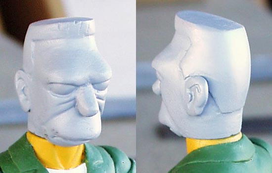 I added epoxy putty to the casting of Herb to build Grandpa's features and haircut.