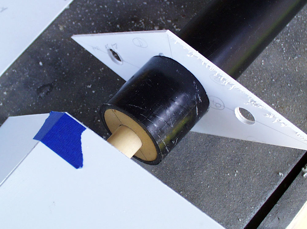 The handle slides onto the dowel and is glued into place.