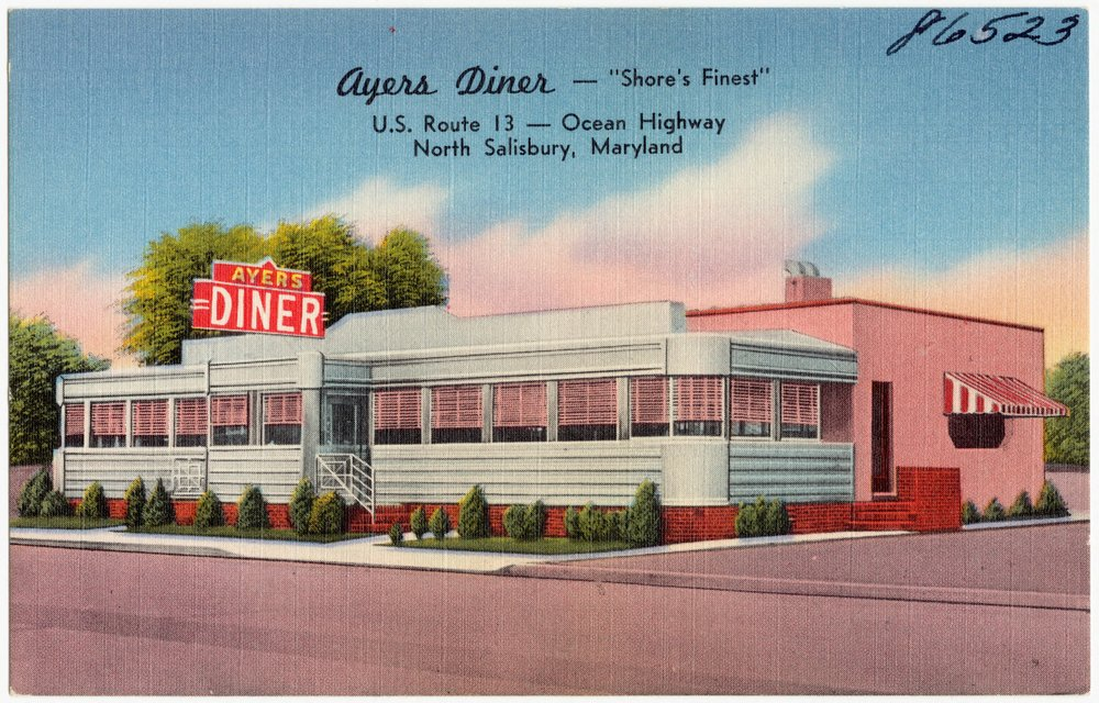 Ayers_Diner_--_Shore's_Finest,_U._S._Route_13_--_Ocean_Highway,_North_Salisbury,_Maryland_(86523).jpg
