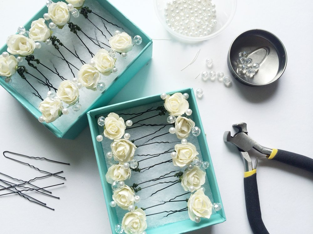 The hairpins I made for my bridesmaids