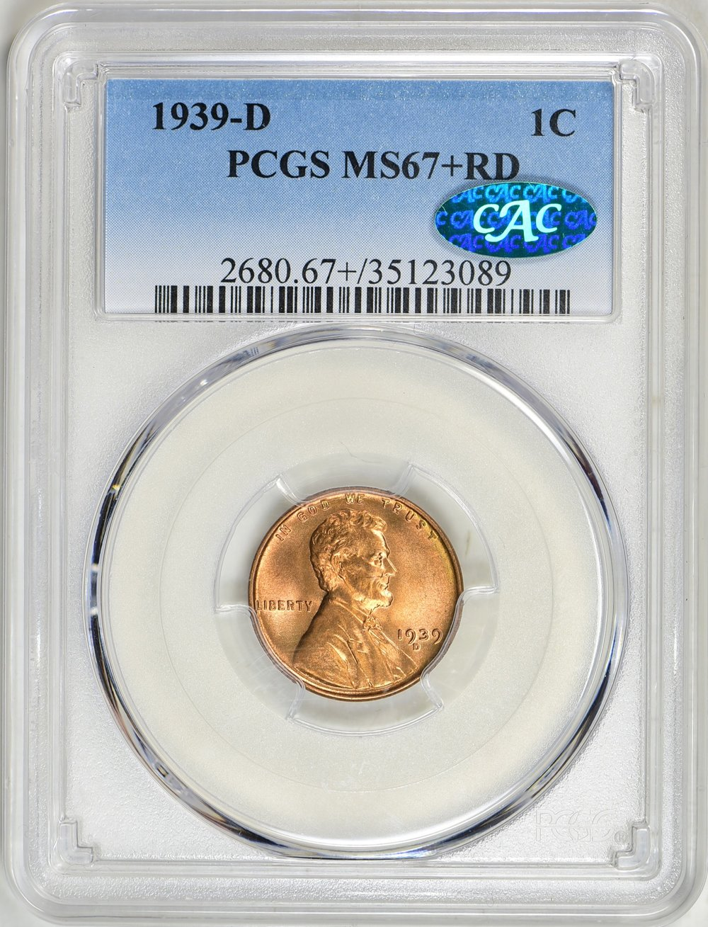 1939-D MS67+RD CAC - Acquired GreatCollections May 13, 2018. Replaces 67RD CAC OGH in The Christopher Collection.