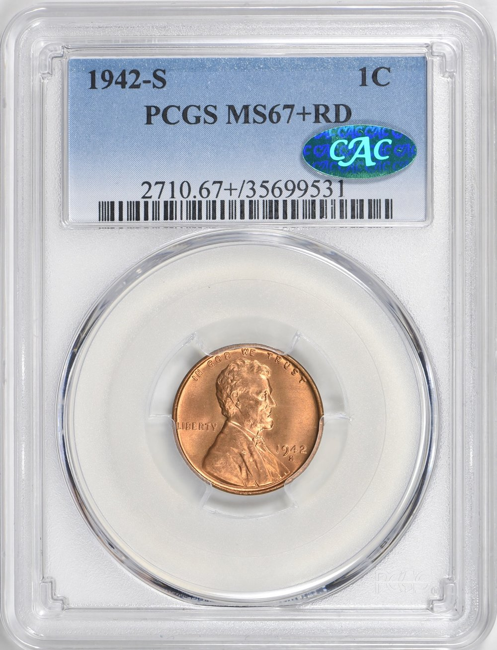 1942-S MS67+RD CAC - Acquired GreatCollections auction 7/1/2018. This is the third 67+ CAC I've owned. I keep finding ones I like better. The first one I made $85 on when I sold but the second I think I overpaid for so expecting a loss. Lesson is only buy what you really love! Note the quality of this image versus the HA image of the 1913-D below.