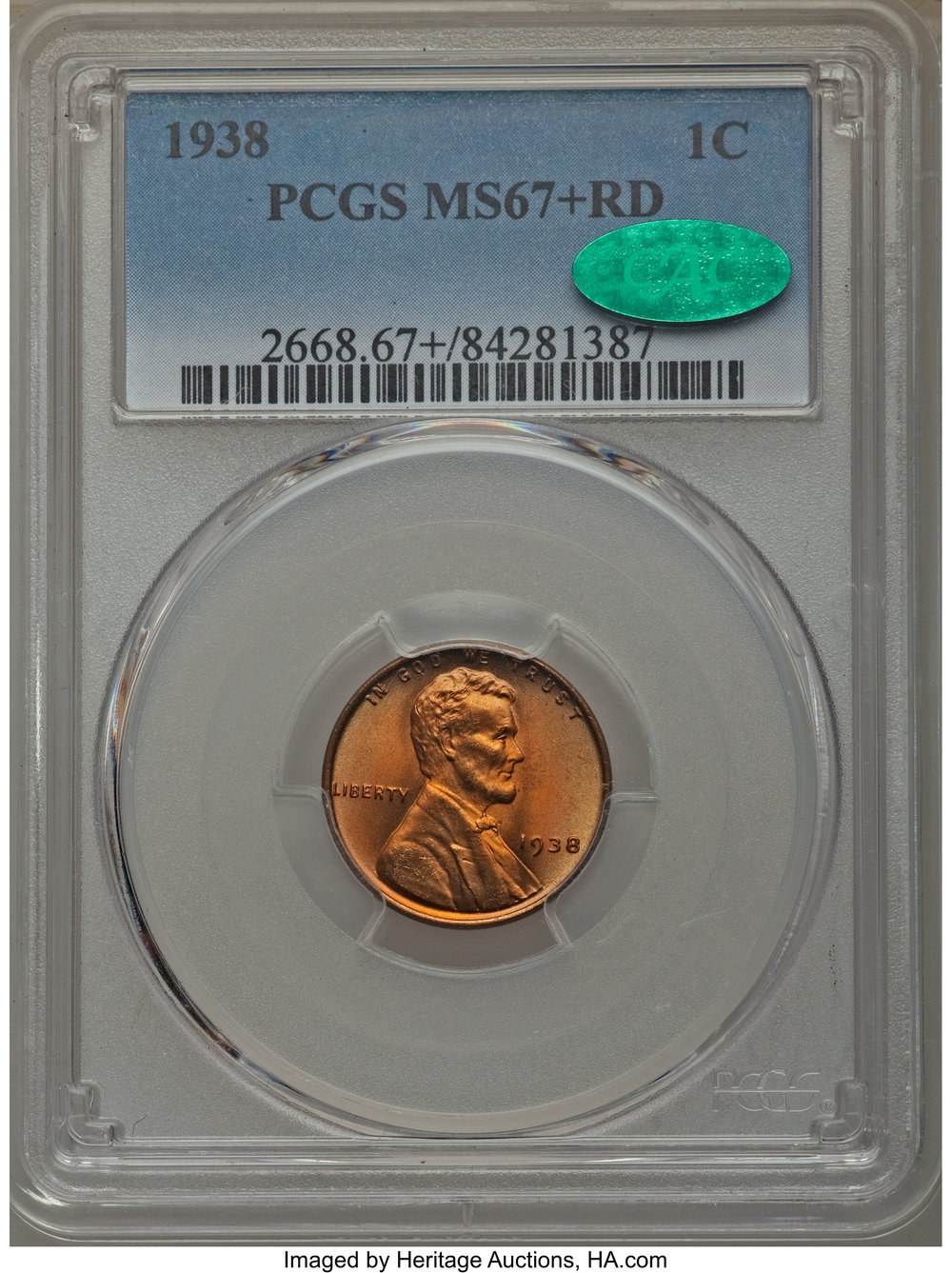 1938 MS67+RD CAC - Acquired Heritage Auctions 7/12/18. Replaces MS67 RD. Typical off color photo by HA. Fortunately a TrueView image was available.