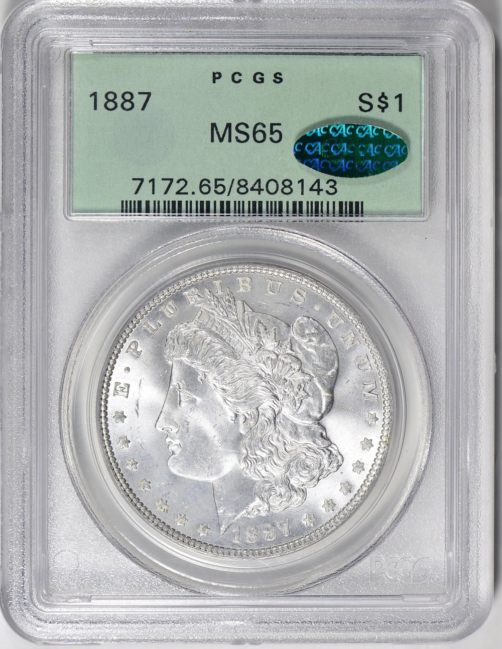 1887 MS65 CAC OGH - Acquired GreatCollections 9/16/18. Continuing to work slowly on a Morgan CAC | OGH collection. This has a very clean cheek for a MS65. It is surprising how many CAC OGH Morgan's are still out there.