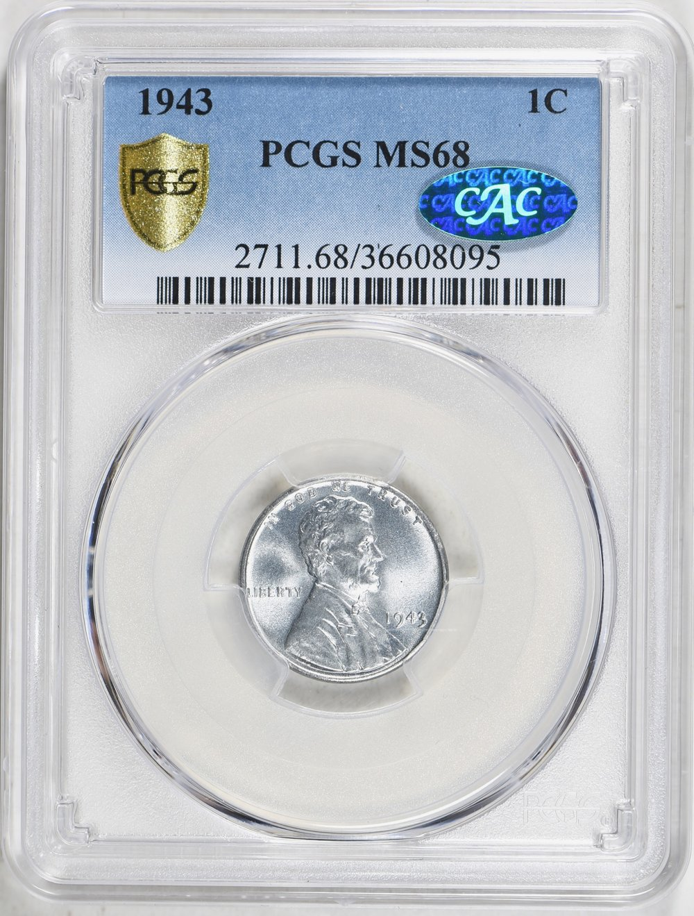 1943 MS68 CAC - Purchased 1/20/19 GreatCollections. Normally I wait to receive (or at least pay) for a coin before posting. My two year hunt for a 1943 MS68 CAC is happily over. A top pop with 54/- PCGS and 8/- in CAC.